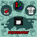 Polygraphy flat concept icons. Spectrum and gamma, technology equipment, ink and palette, vector illustration Stock Image