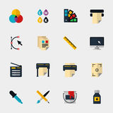 Polygraphy flat icons. Set. Spectrum and gamma, technology equipment, ink and palette, vector illustration Stock Photos
