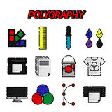 Polygraphy flat icons set. Spectrum and gamma, technology equipment, ink and palette, vector illustration Stock Image