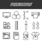 Polygraphy flat icons set. Spectrum and gamma, technology equipment, ink and palette, vector illustration Royalty Free Stock Photo