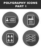 Polygraphy icons. First part. Polygraphy icons. Business cards, calendars, documents photo, booklets Stock Images