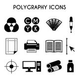 Polygraphy icons. Flat color printing polygraphy icons set. Bezier curve, pipette, computer, spectrum, gamma and tool. Vector illustration Royalty Free Stock Image