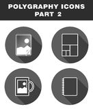 Polygraphy icons. Lamination, wide format printing, souvenirs, notebooks Royalty Free Stock Photography