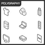 Polygraphy outline isometric icons. Vector illustration, EPS 10 Royalty Free Stock Image