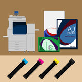 Polygraphy set. Digital print machine, cartridge and paper Royalty Free Stock Photography