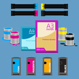 Polygraphy set. Laser and ink cartridge, paper on blue background Royalty Free Stock Photography