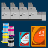 Polygraphy set. Offset equipment, paint and paper Royalty Free Stock Images