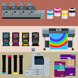 Polygraphy set. Set of polygraphic machines and equipment Royalty Free Stock Image