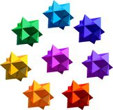 Polyhedral figure. Eight color variations, no gradients Royalty Free Stock Photo