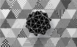 Polyhedron on decorative triangles background. Royalty Free Stock Images