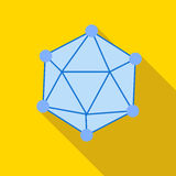 Polyhedron icon in flat style. On a yellow background Stock Photography