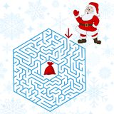 Polyhedron maze riddle game, find way your path. Help the Santa Claus. Labyrinth rebus for kids vector illustration Stock Photo