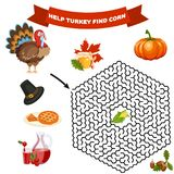 Polyhedron maze riddle game, find way your path. Help turkey find corn. vector illustration