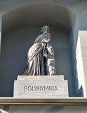 Polyhymnia sculpture. Kunsthaus museum outdoor wall in Graz, Austria Stock Photography