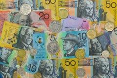 Polymer Australia Banknote. Different Australian dollars money w royalty free stock photo