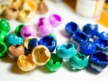 Polymer clay craft. Billets of polymer clay on desk closeup royalty free stock image