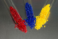 Polymer Granulate in test-glasses Stock Photo