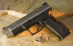 Polymer handgun. Semi automatic handgun that has a polymer frame and steel slide Royalty Free Stock Photography