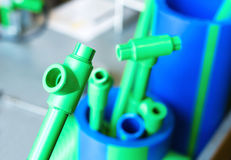 Polymer pipes and fittings. Samples of polymer pipes and fittings Royalty Free Stock Photography
