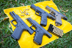 The polymer pistol. BANGKOK,THAILAND-JANUARY 6: The polymer pistol compose of Glock 19 Gen 3,Glock 19 Gen 4 ,Steyr M9A1 were displayed at Ramintra 17 gun field Stock Image