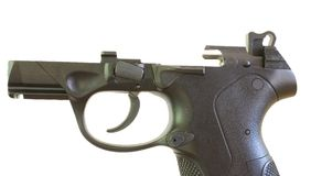 Polymer pistol frame. Handgun that is made of polymer with the slide removed Stock Photography