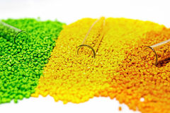 Polymeric dye. Colorant  for the granules. Plastic pellets. Royalty Free Stock Images