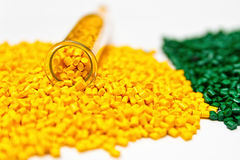 Polymeric dye. Colorant  for the granules. Plastic pellets. Stock Photos