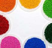 Polymeric dye. Colorant for plastics. Pigment in the granules. Stock Photo