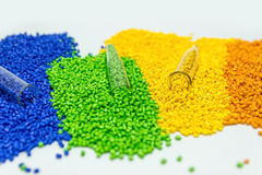 Polymeric dye. Colorant for plastics. Pigment in the granules. Polymeric dye. Plastic pellets. Colorant for plastics. Pigment in the granules Stock Photo