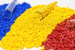 Polymeric dye. Colorant for plastics. Pigment in the granules. Polymeric dye. Plastic pellets. Colorant for plastics. Pigment in the granules Stock Image