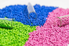 Polymeric dye. Colorant for plastics. Pigment in the granules. Polymeric dye. Plastic pellets. Colorant for plastics. Pigment in the granules Stock Photos
