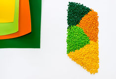 Polymeric dye. Plastic pellets. Colorant for  the granules. Stock Images