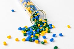 Polymeric dye. Plastic pellets. Colorant for plastics. Pigment i. N the granules. Polymer beads Stock Photos
