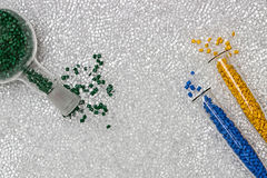 Polymeric dye. Colorant for plastics. Pigment in the granules. royalty free stock photos