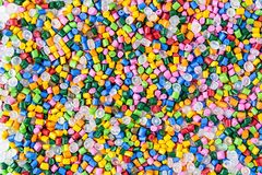 Free Polymeric Dye. Plastic Pellets. Pigment In The Granules. Polymer Beads Stock Photos - 109238923