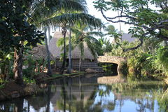 Polyneisian house and river. Small Polynesian house and river landscape. Picture was taking at the Polynesian Culture Center, Hawaii Royalty Free Stock Photo