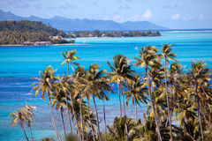 Polynesia.Azure lagoon of island BoraBora, Royalty Free Stock Photos