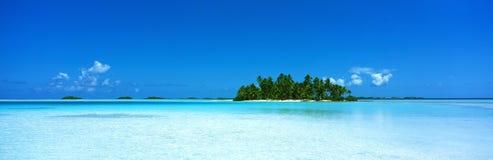 Polynesia, blue lagon. Blue sea and atoll, Rangiroa, French Polynesia Royalty Free Stock Images