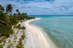 Polynesia Cook Island tropische het paradijs luchtmening van de aitutakilagune royalty-vrije stock afbeeldingen