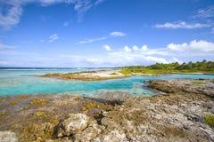 Polynesia lagune en oceaan, vakantiebestemming Royalty-vrije Stock Afbeelding