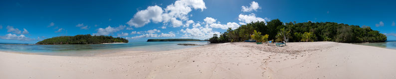 Polynesia Paradise Crystal Water white sandy beach. Kingdom of Tonga Polynesia Paradise Crystal Water Poster Panorama Royalty Free Stock Photography