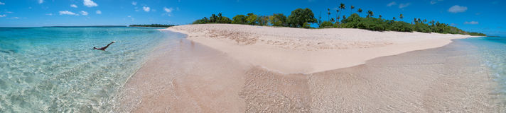 Polynesia Paradise Crystal Water white sandy beach. Kingdom of Tonga Polynesia Paradise Crystal Water Poster Panorama Royalty Free Stock Image