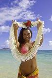 Polynesian beauty at the beach. Beautiful polynesian girl on the beach in Hawaii Stock Image