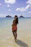 Polynesian beauty at the beach Stock Photos