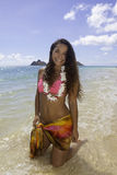 Polynesian beauty at the beach Stock Photography