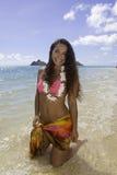 Polynesian beauty at the beach. Beautiful polynesian girl on the beach in Hawaii Stock Photography