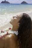 Polynesian beauty at the beach Stock Images