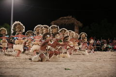 Polynesian Dancers - 2013 Heiva in Bora Bora Royalty Free Stock Photo