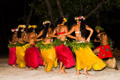 Polynesian dancers perform traditional dance Royalty Free Stock Photos