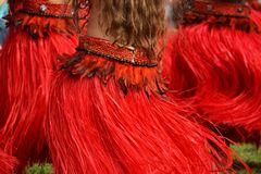 Polynesian dancers. A spot on the hypnotic movements of three polynesian dancers Stock Images